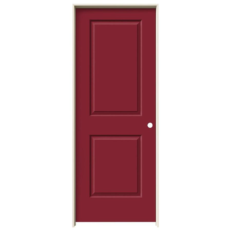 JELD-WEN Barn Red Prehung Hollow Core 2-Panel Square Interior Door (Common: 28-in x 80-in; Actual: 29.562-in x 81.688-in)