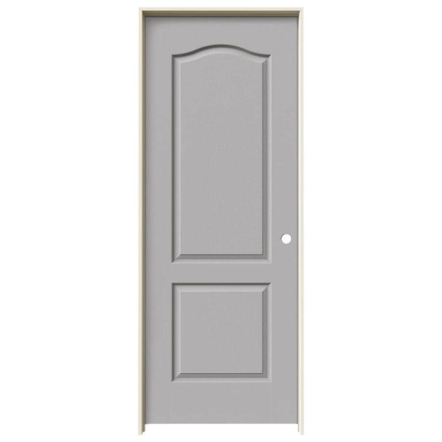 JELD-WEN Driftwood Prehung Solid Core 2-Panel Arch Top Interior Door (Common: 24-in x 80-in; Actual: 25.562-in x 81.688-in)