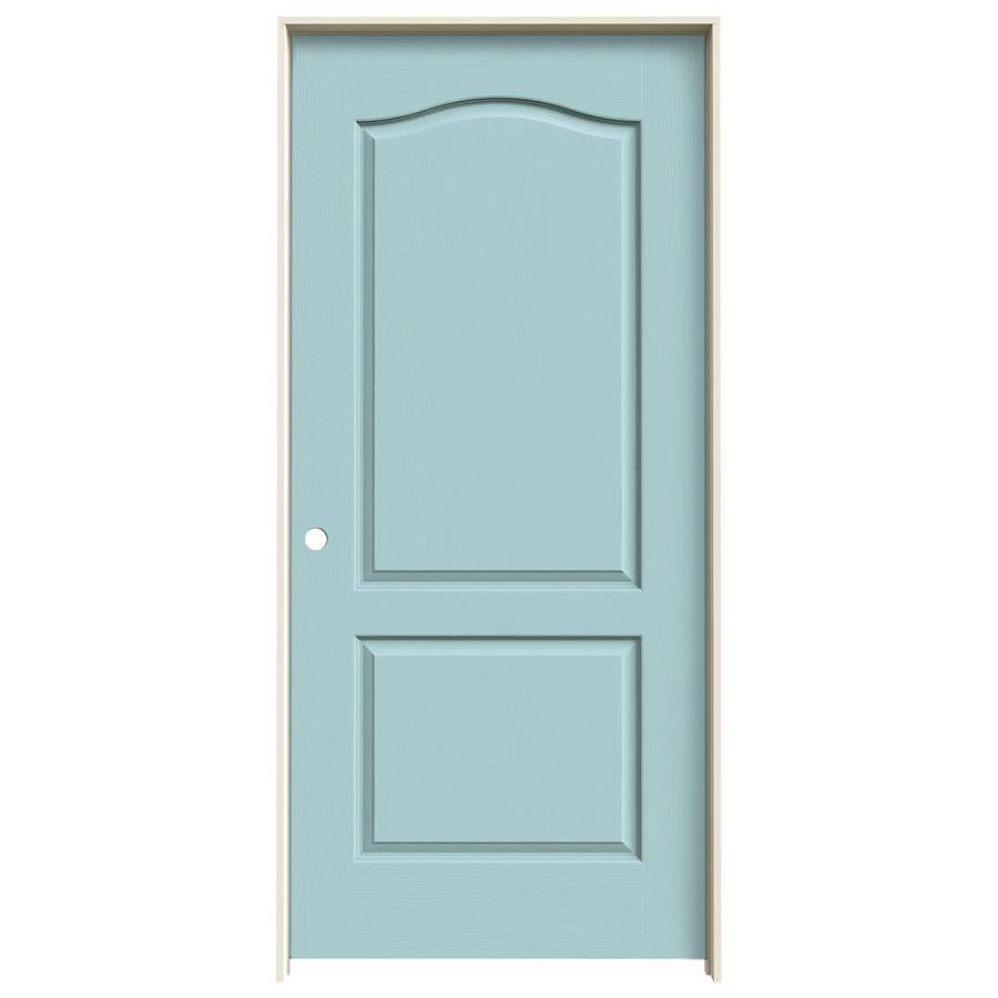 JELD-WEN Sea Mist Prehung Solid Core 2-Panel Arch Top Interior Door (Common: 36-in x 80-in; Actual: 37.562-in x 81.688-in)