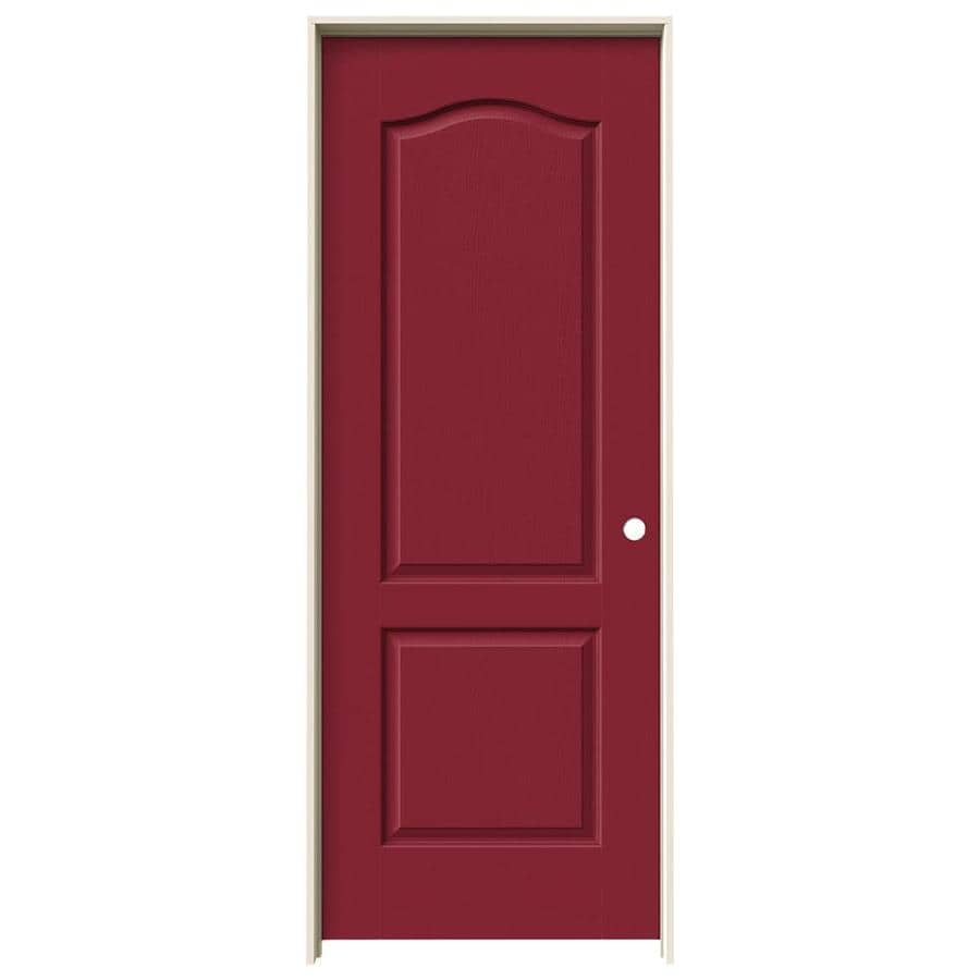 JELD-WEN Barn Red Prehung Solid Core 2-Panel Arch Top Interior Door (Common: 30-in x 80-in; Actual: 31.562-in x 81.688-in)
