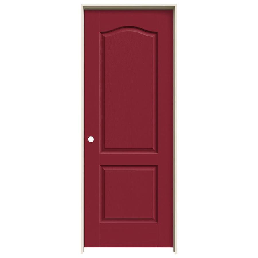 JELD-WEN Barn Red Prehung Solid Core 2-Panel Arch Top Interior Door (Common: 32-in x 80-in; Actual: 33.562-in x 81.688-in)