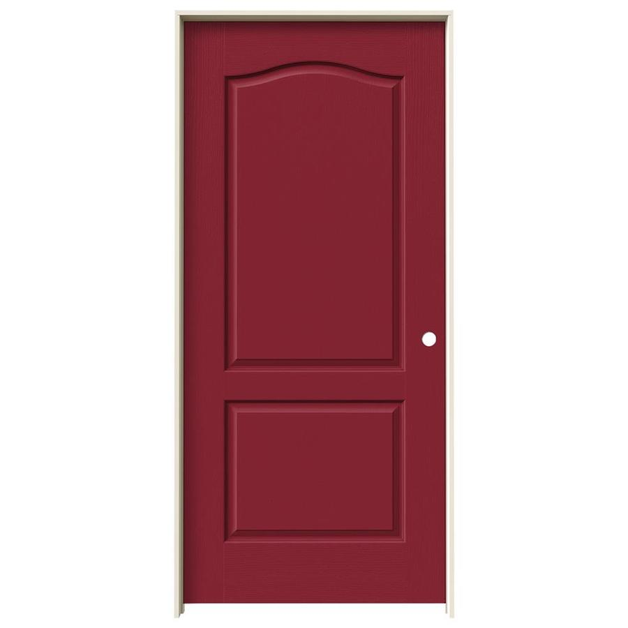JELD-WEN Barn Red Prehung Solid Core 2-Panel Arch Top Interior Door (Common: 36-in x 80-in; Actual: 37.562-in x 81.688-in)
