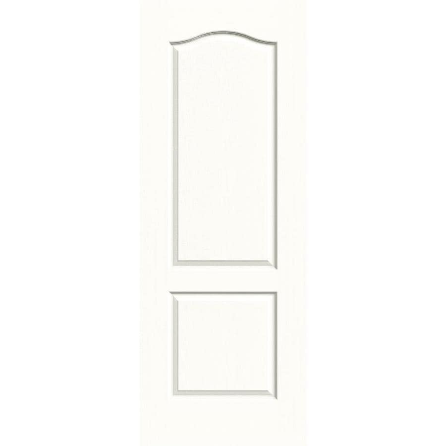 JELD-WEN Snow Storm Solid Core 2-Panel Arch Top Slab Interior Door (Common: 24-in x 80-in; Actual: 24-in x 80-in)