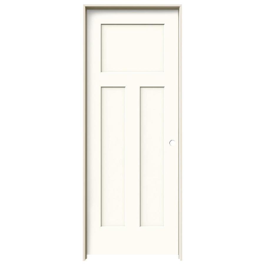 JELD-WEN White Prehung Hollow Core 3-Panel Craftsman Interior Door (Common: 32-in x 80-in; Actual: 33.562-in x 81.688-in)