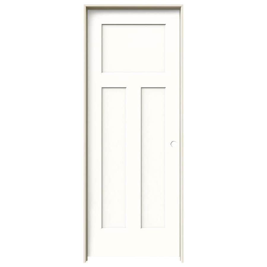 JELD-WEN Snow Storm Prehung Hollow Core 3-Panel Craftsman Interior Door (Common: 28-in x 80-in; Actual: 29.562-in x 81.688-in)