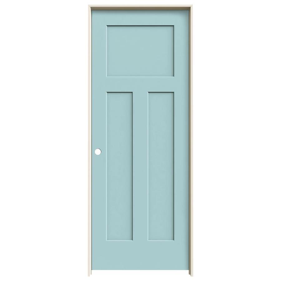 JELD-WEN Sea Mist Prehung Hollow Core 3-Panel Craftsman Interior Door (Common: 28-in x 80-in; Actual: 29.562-in x 81.688-in)