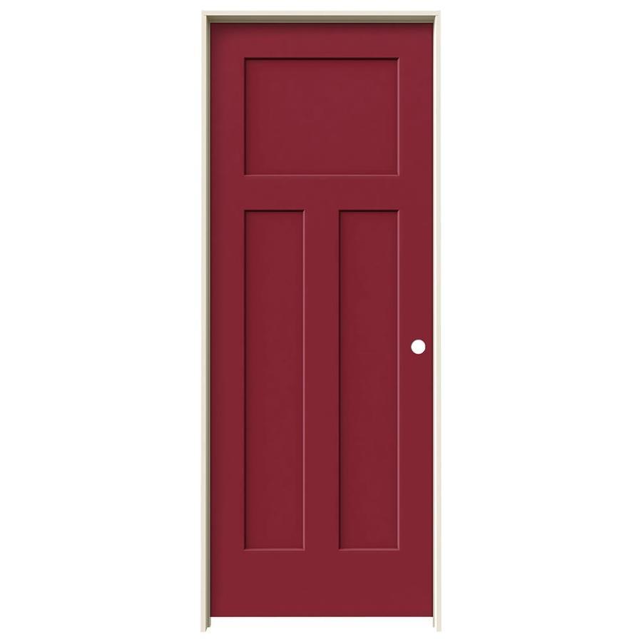 JELD-WEN Barn Red Prehung Hollow Core 3-Panel Craftsman Interior Door (Common: 30-in x 80-in; Actual: 31.562-in x 81.688-in)