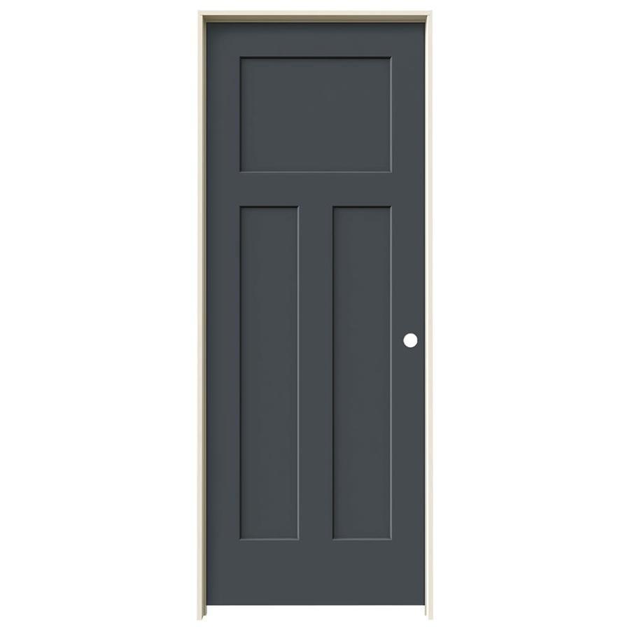 JELD-WEN Slate Prehung Hollow Core 3-Panel Craftsman Interior Door (Common: 32-in x 80-in; Actual: 33.562-in x 81.688-in)