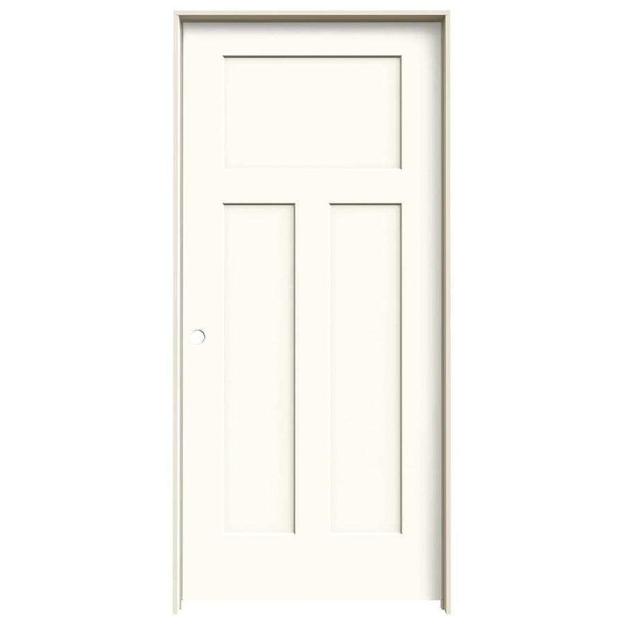 JELD-WEN White Prehung Solid Core 3-Panel Craftsman Interior Door (Common: 36-in x 80-in; Actual: 37.562-in x 81.688-in)