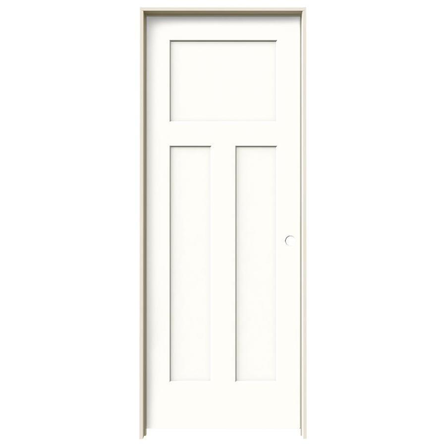 JELD-WEN Snow Storm Prehung Solid Core 3-Panel Craftsman Interior Door (Common: 28-in x 80-in; Actual: 29.562-in x 81.688-in)