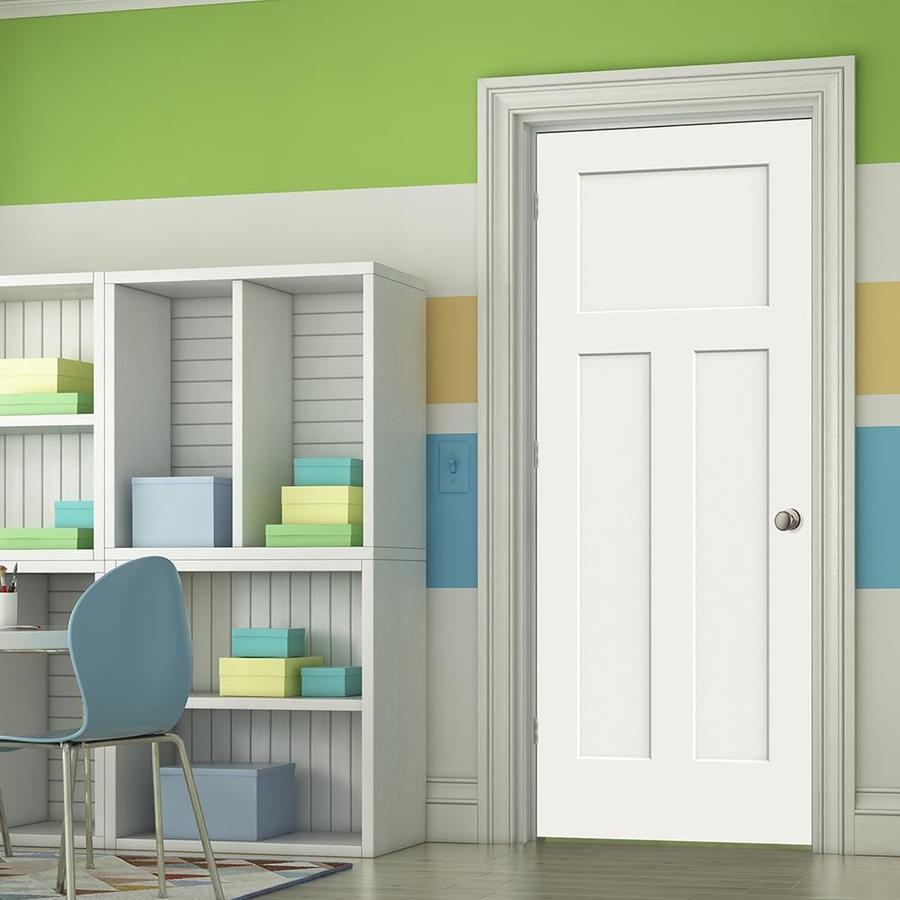 Jeld Wen Craftsman Snow Storm 3 Panel Craftsman Solid Core Molded Composite Single Prehung Door (Common: 30 In X 80 In; Actual: 31.5625 In X 81.6875 In) by Lowe's