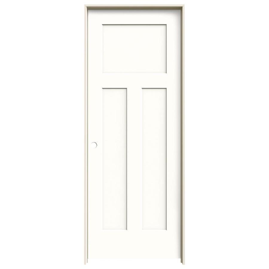 JELD-WEN Snow Storm Prehung Solid Core 3-Panel Craftsman Interior Door (Common: 32-in x 80-in; Actual: 33.562-in x 81.688-in)