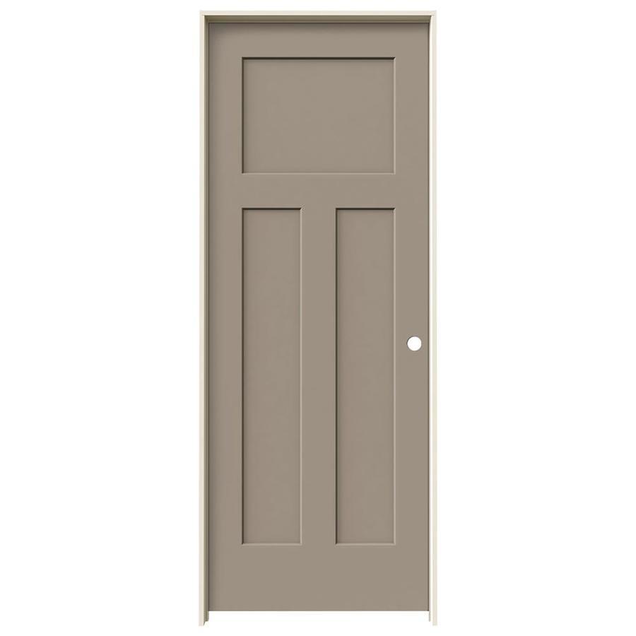 JELD-WEN Sand Piper Prehung Solid Core 3-Panel Craftsman Interior Door (Common: 32-in x 80-in; Actual: 33.562-in x 81.688-in)