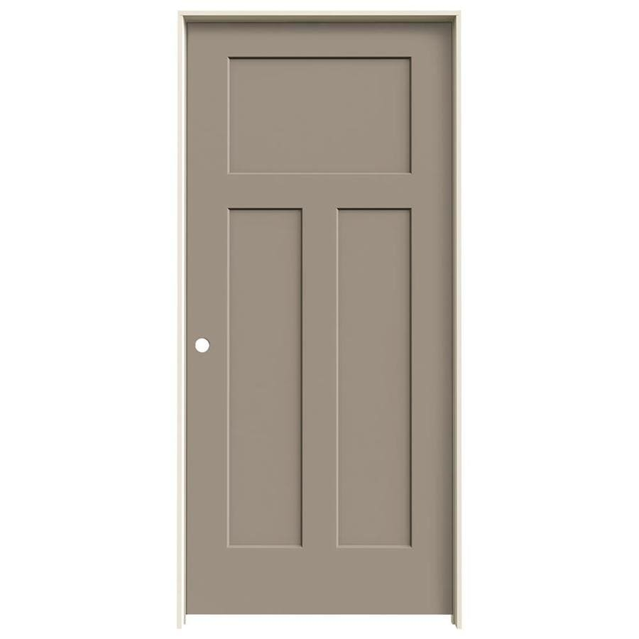 JELD-WEN Sand Piper Prehung Solid Core 3-Panel Craftsman Interior Door (Common: 36-in x 80-in; Actual: 37.562-in x 81.688-in)