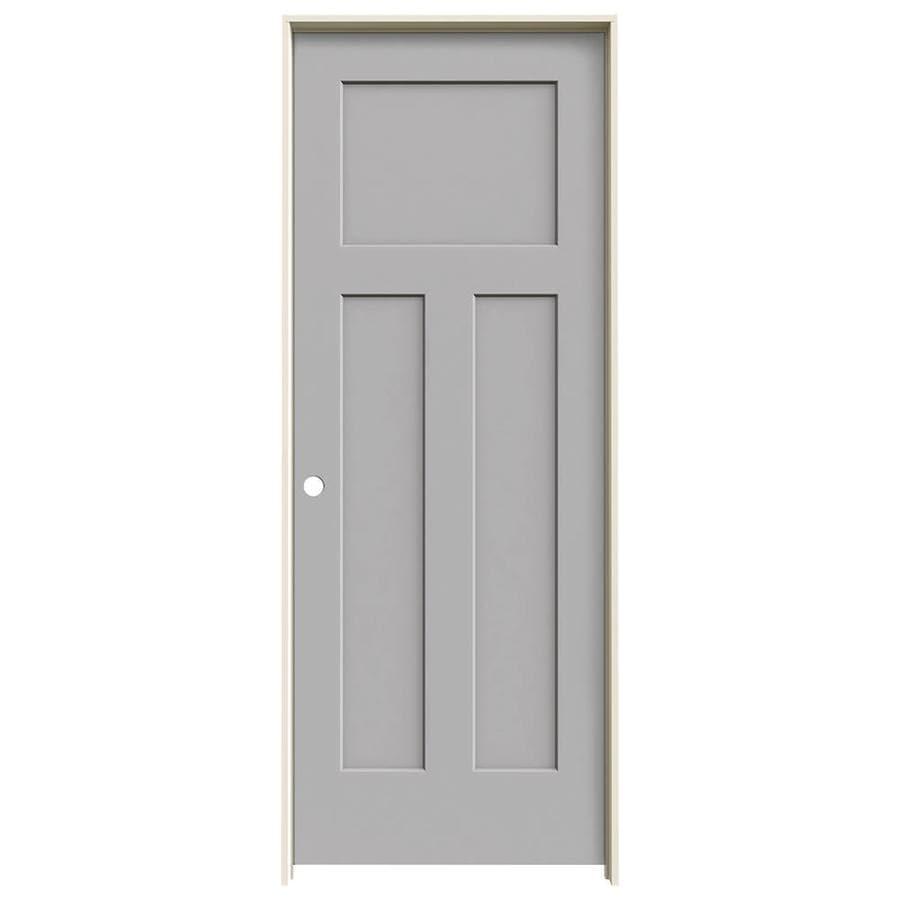 JELD-WEN Driftwood Prehung Solid Core 3-Panel Craftsman Interior Door (Common: 32-in x 80-in; Actual: 33.562-in x 81.688-in)