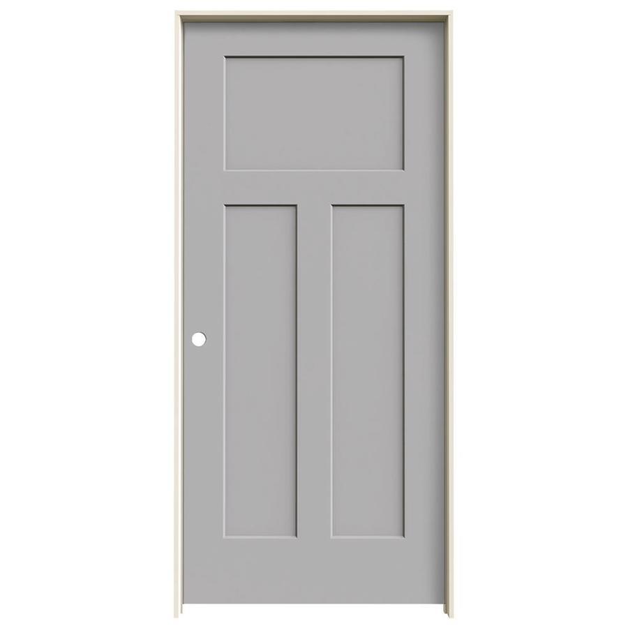 JELD-WEN Driftwood Prehung Solid Core 3-Panel Craftsman Interior Door (Common: 36-in x 80-in; Actual: 37.562-in x 81.688-in)