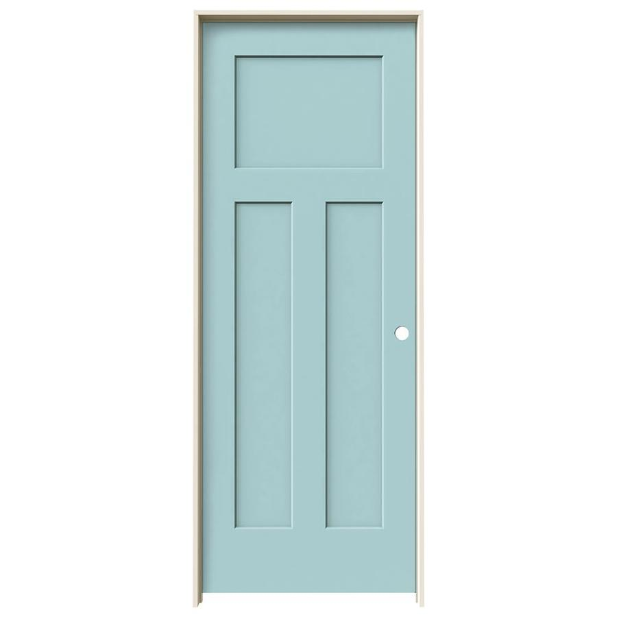 JELD-WEN Sea Mist Prehung Solid Core 3-Panel Craftsman Interior Door (Common: 28-in x 80-in; Actual: 29.562-in x 81.688-in)