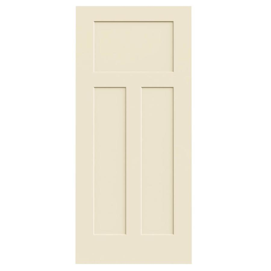 JELD-WEN Cream-N-Sugar Solid Core 3-Panel Craftsman Slab Interior Door (Common: 36-in x 80-in; Actual: 36-in x 80-in)