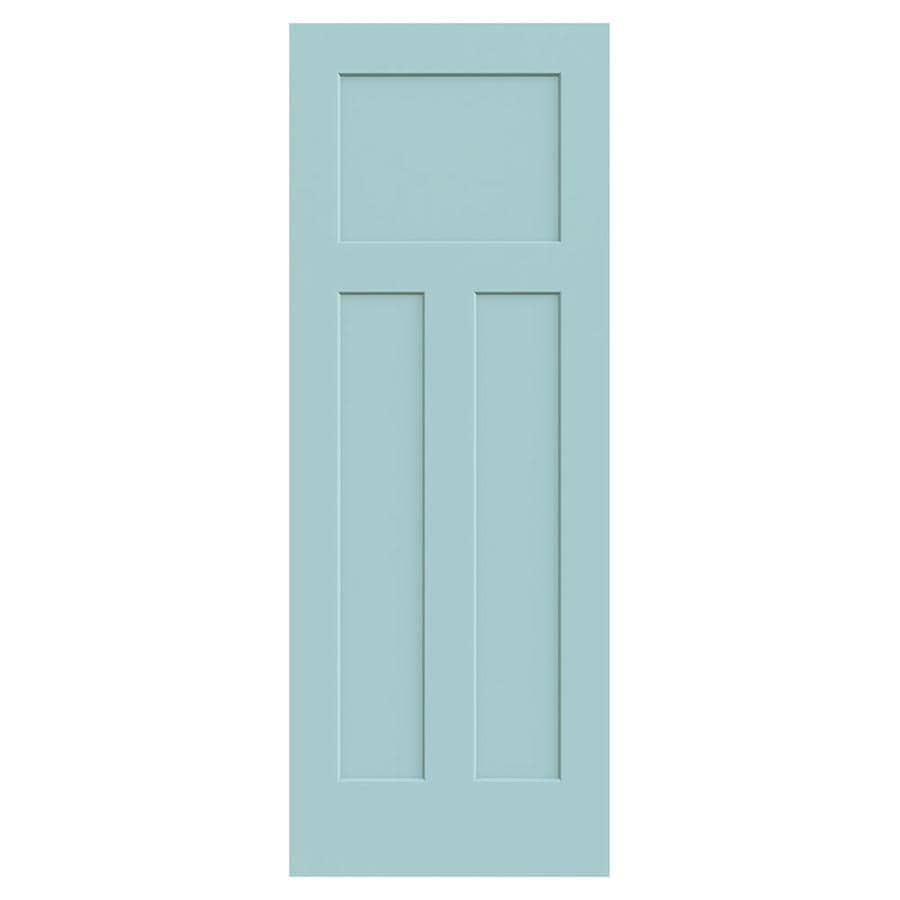 JELD-WEN Sea Mist Solid Core 3-Panel Craftsman Slab Interior Door (Common: 28-in x 80-in; Actual: 28-in x 80-in)