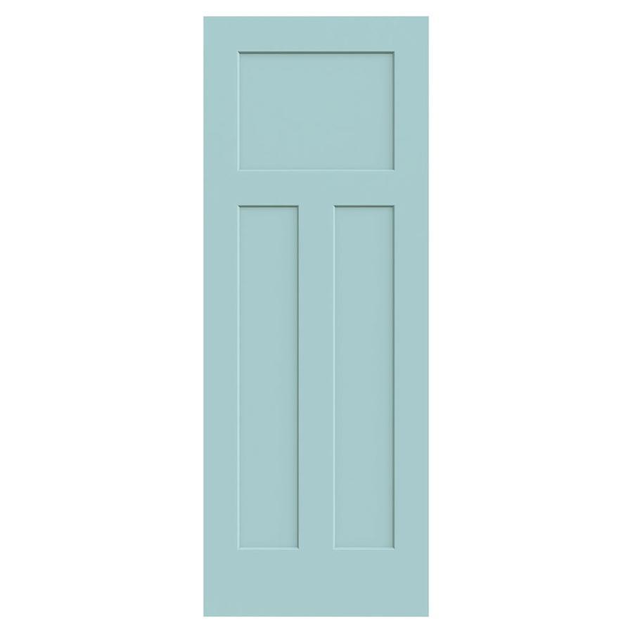 JELD-WEN Sea Mist Solid Core 3-Panel Craftsman Slab Interior Door (Common: 30-in x 80-in; Actual: 30-in x 80-in)