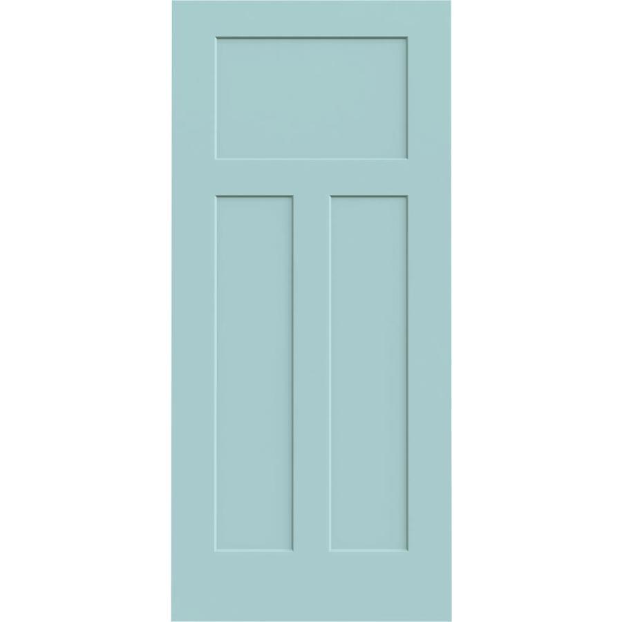 JELD-WEN Sea Mist Solid Core 3-Panel Craftsman Slab Interior Door (Common: 36-in x 80-in; Actual: 36-in x 80-in)