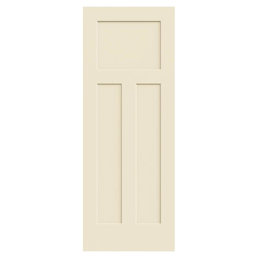 JELD-WEN Cream-N-Sugar Hollow Core 3-Panel Craftsman Slab Interior Door (Common: 30-in x 80-in; Actual: 30-in x 80-in)