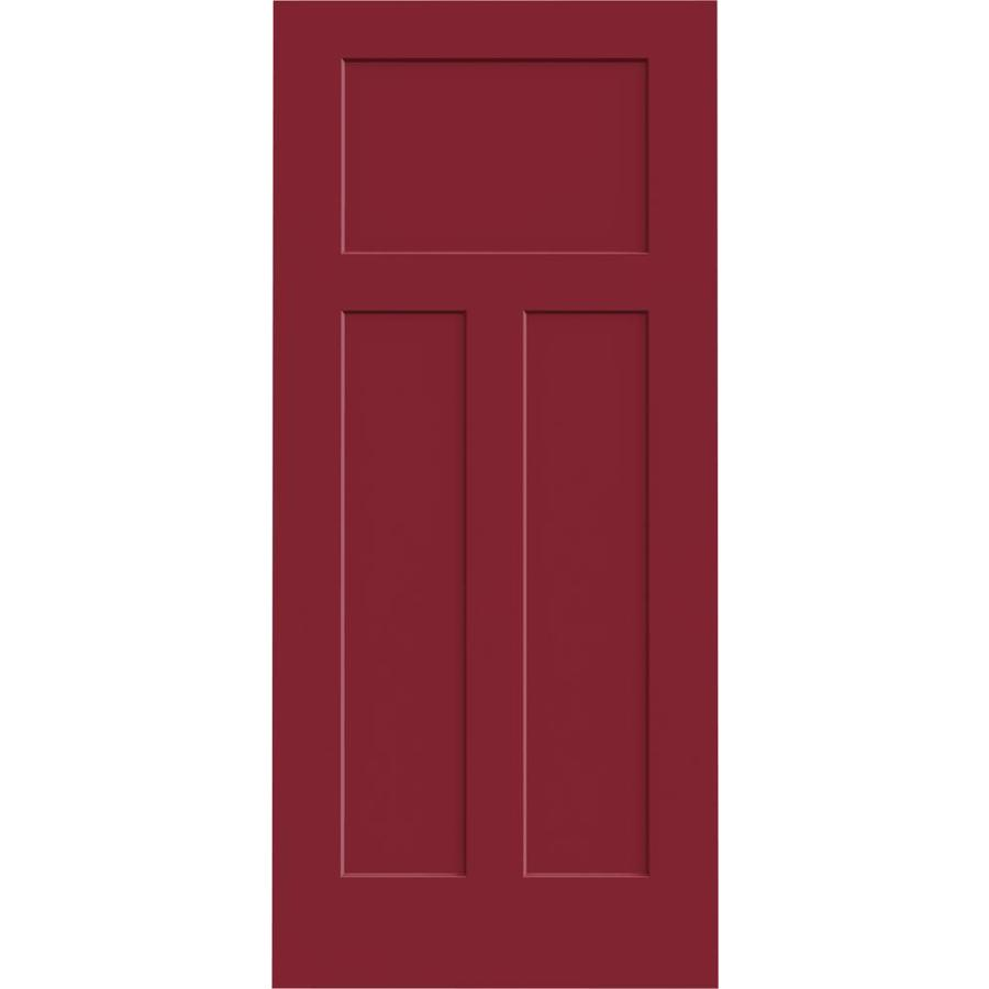 JELD-WEN Barn Red Hollow Core 3-Panel Craftsman Slab Interior Door (Common: 36-in x 80-in; Actual: 36-in x 80-in)