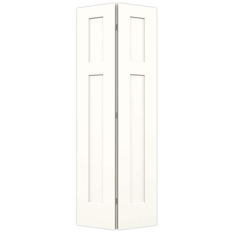 JELD-WEN Snow Storm Hollow Core 2-Panel Square Bi-Fold Closet Interior Door (Common: 30-in x 80-in; Actual: 29.5-in x 79-in)