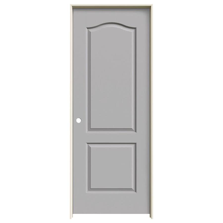 JELD-WEN Driftwood Prehung Solid Core 2-Panel Arch Top Interior Door (Common: 32-in x 80-in; Actual: 33.562-in x 81.688-in)