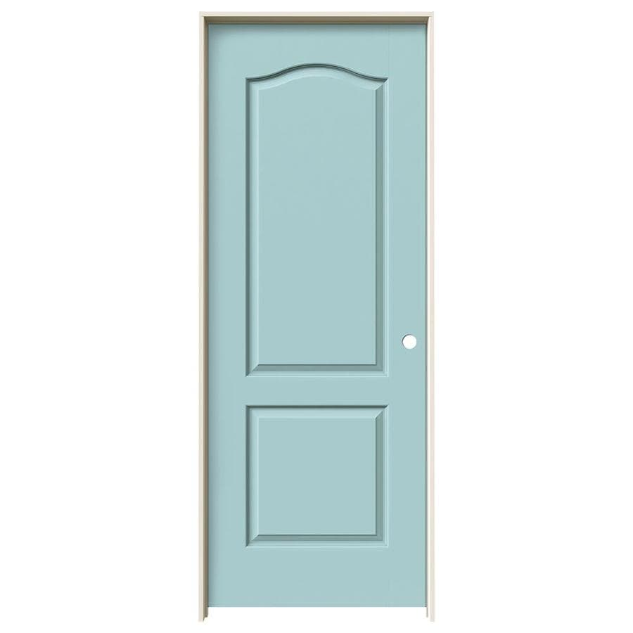 JELD-WEN Sea Mist Prehung Solid Core 2-Panel Arch Top Interior Door (Common: 28-in x 80-in; Actual: 29.562-in x 81.688-in)