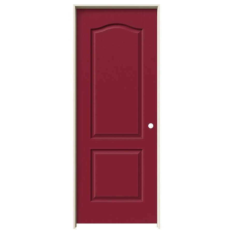 Shop Jeld Wen Barn Red Prehung Solid Core 2 Panel Arch Top Interior Door Common 28 In X 80 In