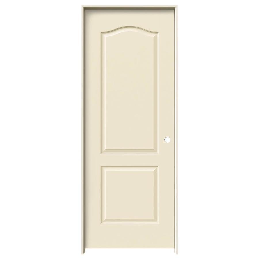 JELD-WEN Cream-N-Sugar Prehung Hollow Core 2-Panel Arch Top Interior Door (Common: 32-in x 80-in; Actual: 33.562-in x 81.688-in)