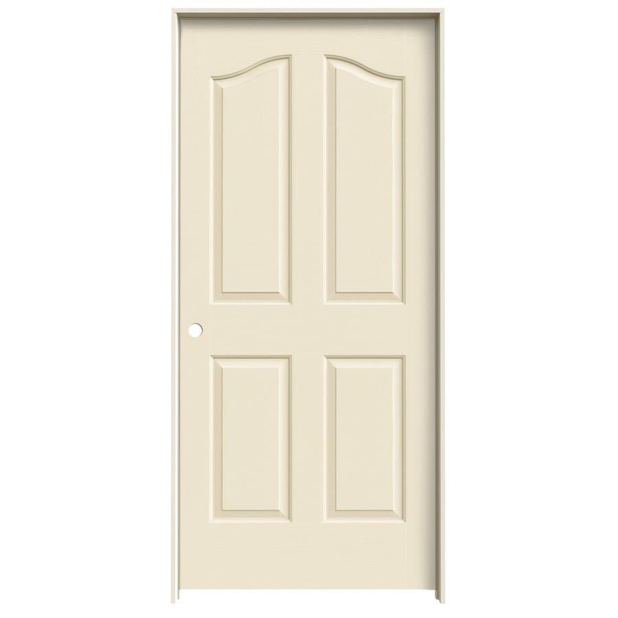 JELD-WEN Cream-N-Sugar Prehung Hollow Core 4-Panel Arch Top Interior Door (Common: 36-in x 80-in; Actual: 37.562-in x 81.69-in)