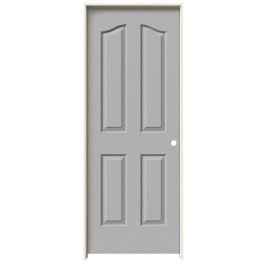 JELD-WEN Driftwood Prehung Hollow Core 4-Panel Arch Top Interior Door (Common: 28-in x 80-in; Actual: 29.562-in x 81.69-in)