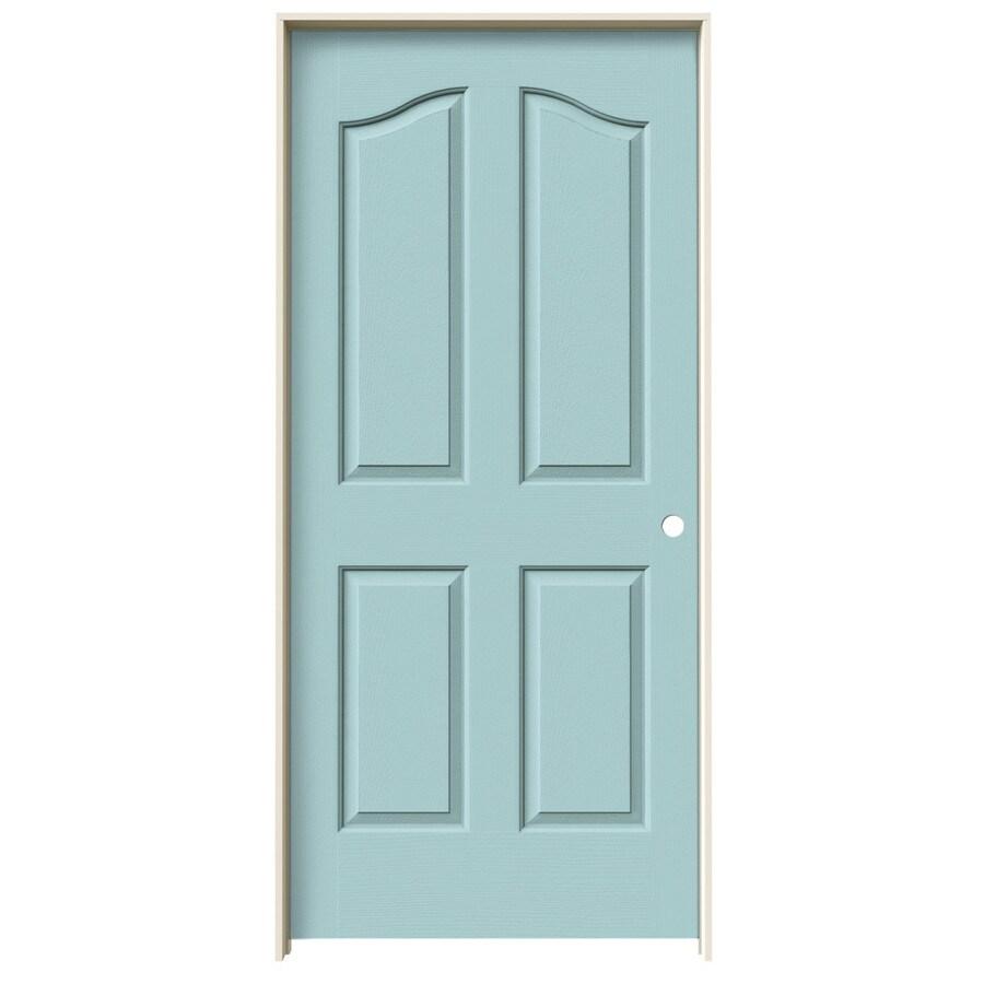 JELD-WEN Sea Mist Prehung Hollow Core 4-Panel Arch Top Interior Door (Common: 36-in x 80-in; Actual: 37.562-in x 81.69-in)