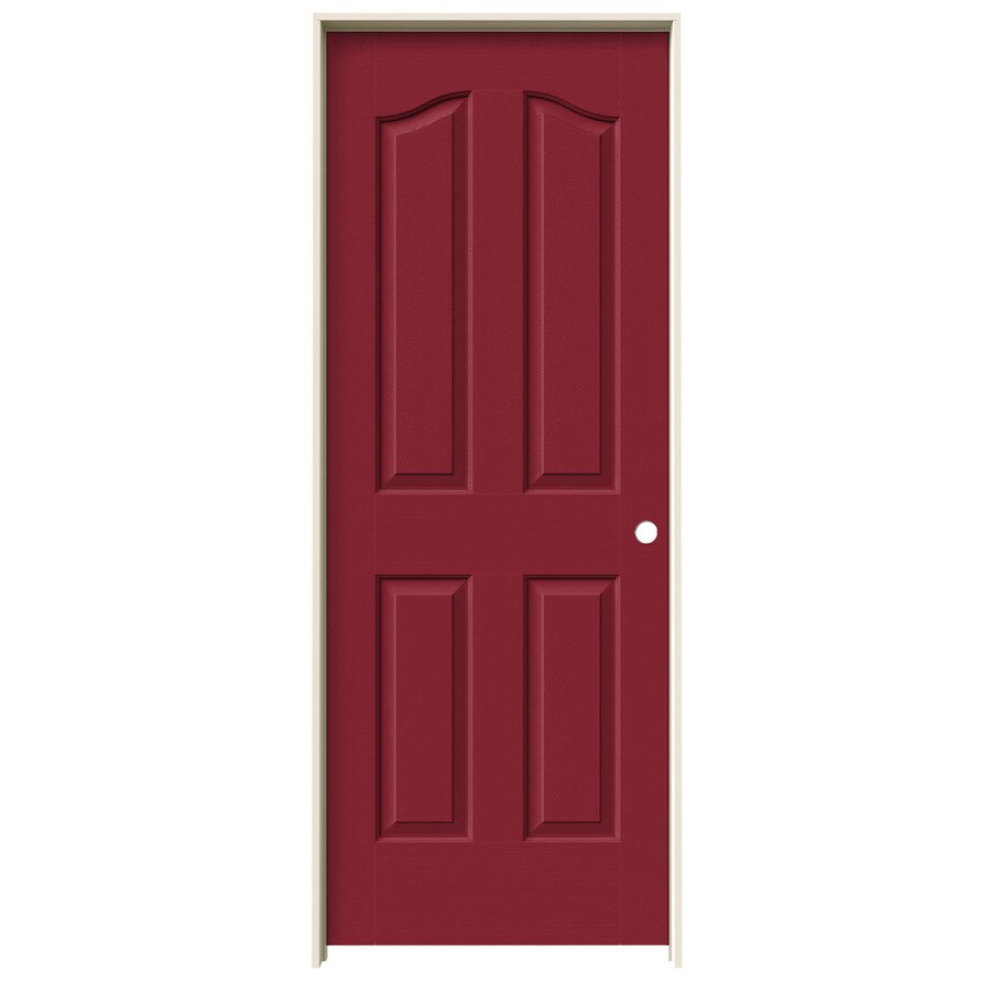 JELD-WEN Barn Red Prehung Hollow Core 4-Panel Arch Top Interior Door (Common: 28-in x 80-in; Actual: 29.562-in x 81.69-in)