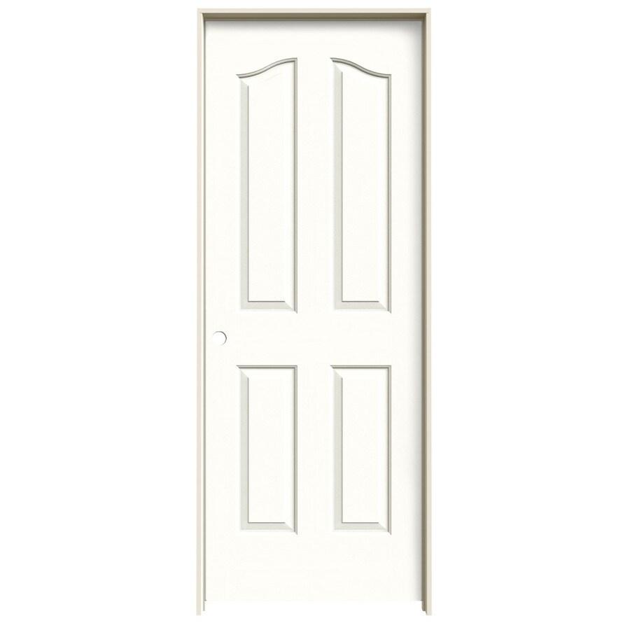 JELD-WEN Snow Storm Prehung Solid Core 4-Panel Arch Top Interior Door (Common: 30-in x 80-in; Actual: 31.562-in x 81.69-in)