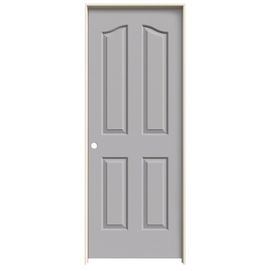 JELD-WEN Driftwood Prehung Solid Core 4-Panel Arch Top Interior Door (Common: 28-in x 80-in; Actual: 29.562-in x 81.69-in)