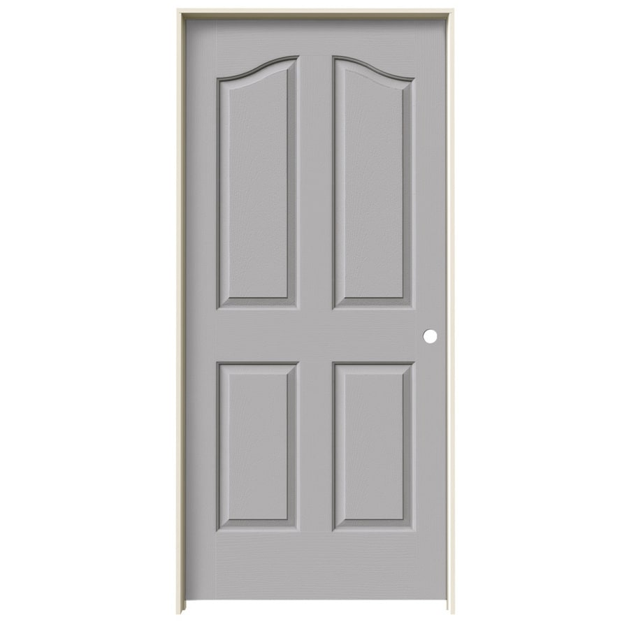 JELD-WEN Driftwood Prehung Solid Core 4-Panel Arch Top Interior Door (Common: 36-in x 80-in; Actual: 37.562-in x 81.69-in)