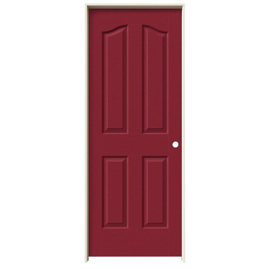 JELD-WEN Barn Red Prehung Solid Core 4-Panel Arch Top Interior Door (Common: 32-in x 80-in; Actual: 33.562-in x 81.69-in)