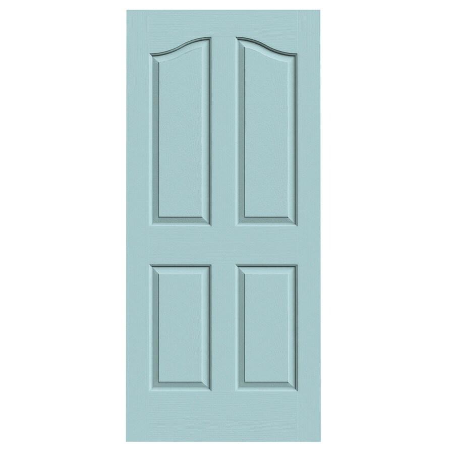 JELD-WEN Sea Mist Solid Core 4-Panel Arch Top Slab Interior Door (Common: 36-in x 80-in; Actual: 36-in x 80-in)
