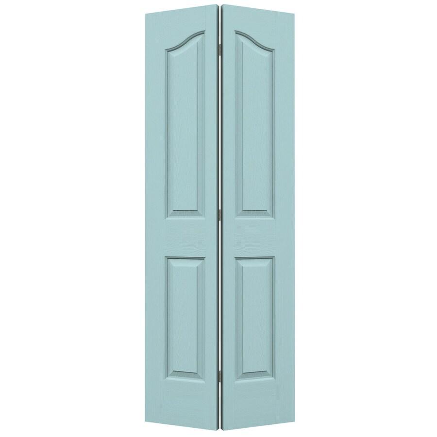 JELD-WEN Sea Mist Hollow Core 4-Panel Arch Top Bi-Fold Closet Interior Door (Common: 30-in x 80-in; Actual: 29.5-in x 79-in)