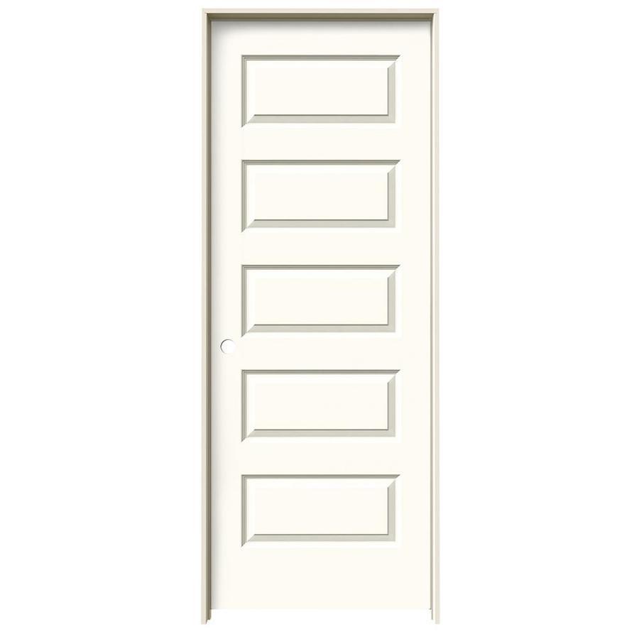 JELD-WEN White Prehung Solid Core 5-Panel Equal Interior Door (Common: 28-in x 80-in; Actual: 29.562-in x 81.688-in)