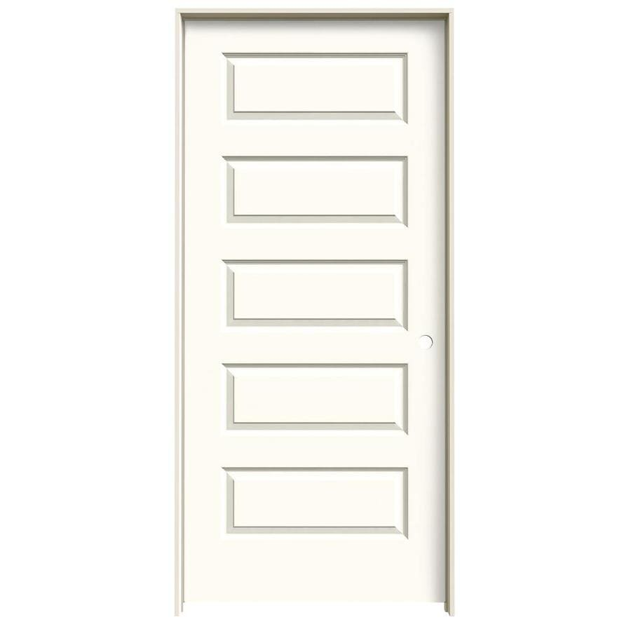 JELD-WEN White Prehung Solid Core 5-Panel Equal Interior Door (Common: 36-in x 80-in; Actual: 37.562-in x 81.688-in)