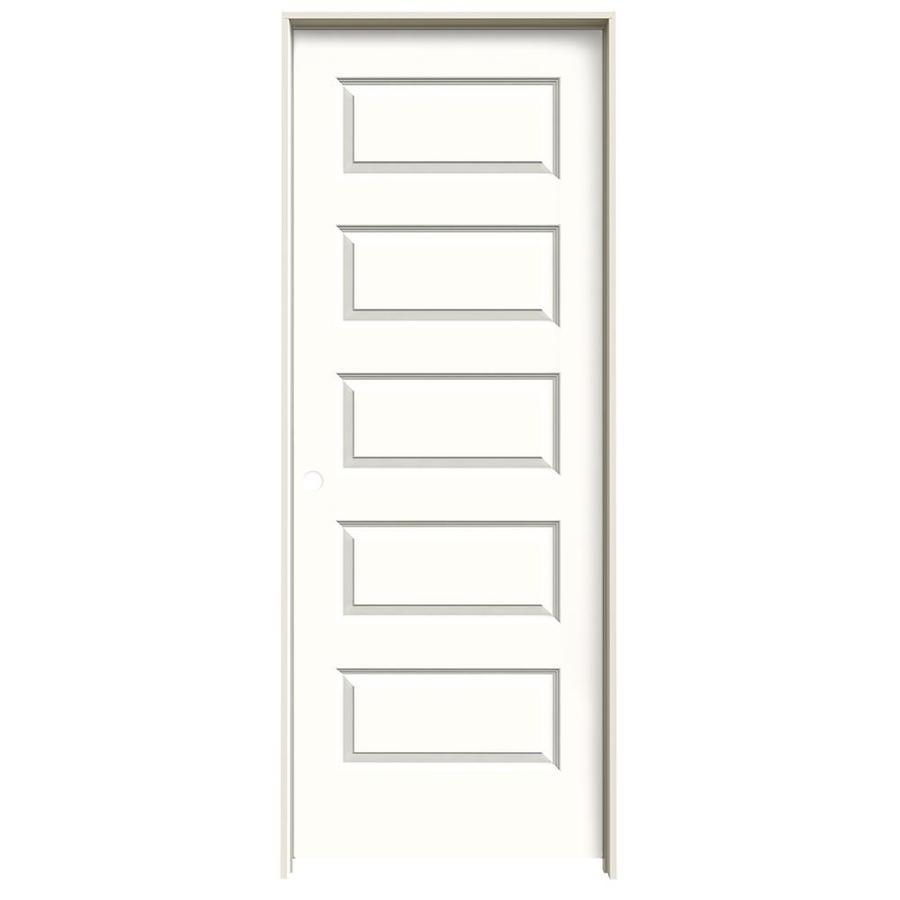 JELD-WEN Snow Storm Prehung Solid Core 5-Panel Equal Interior Door (Common: 28-in x 80-in; Actual: 29.562-in x 81.688-in)