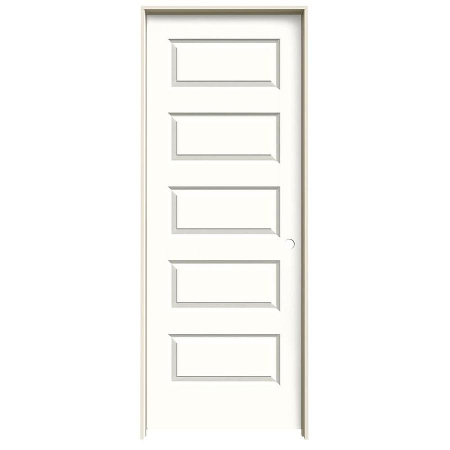 JELD-WEN Snow Storm Prehung Solid Core 5-Panel Equal Interior Door (Common: 32-in x 80-in; Actual: 33.562-in x 81.688-in)