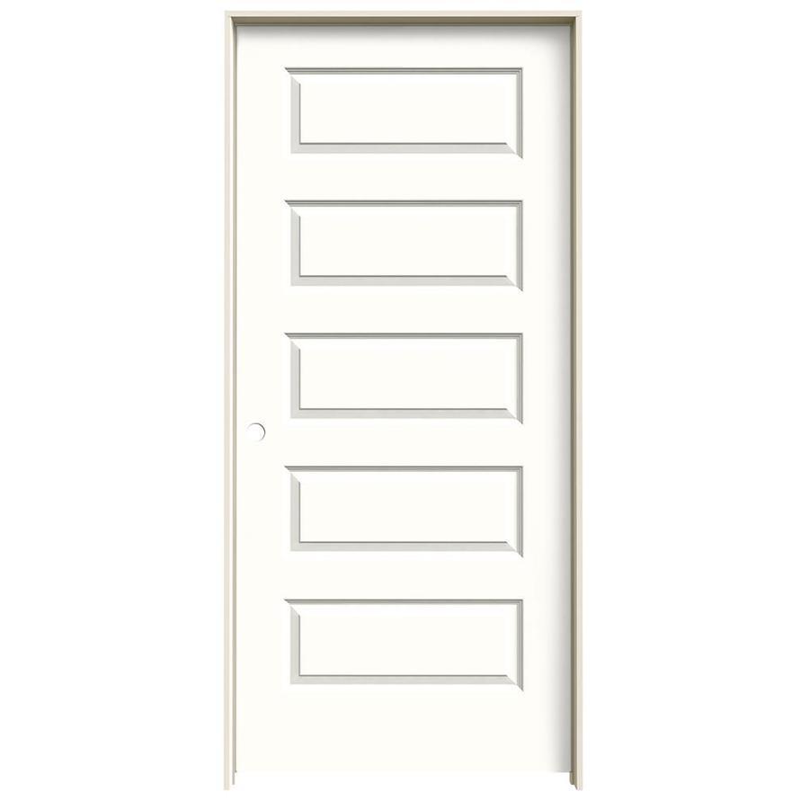 JELD-WEN Snow Storm Prehung Solid Core 5-Panel Equal Interior Door (Common: 36-in x 80-in; Actual: 37.562-in x 81.688-in)