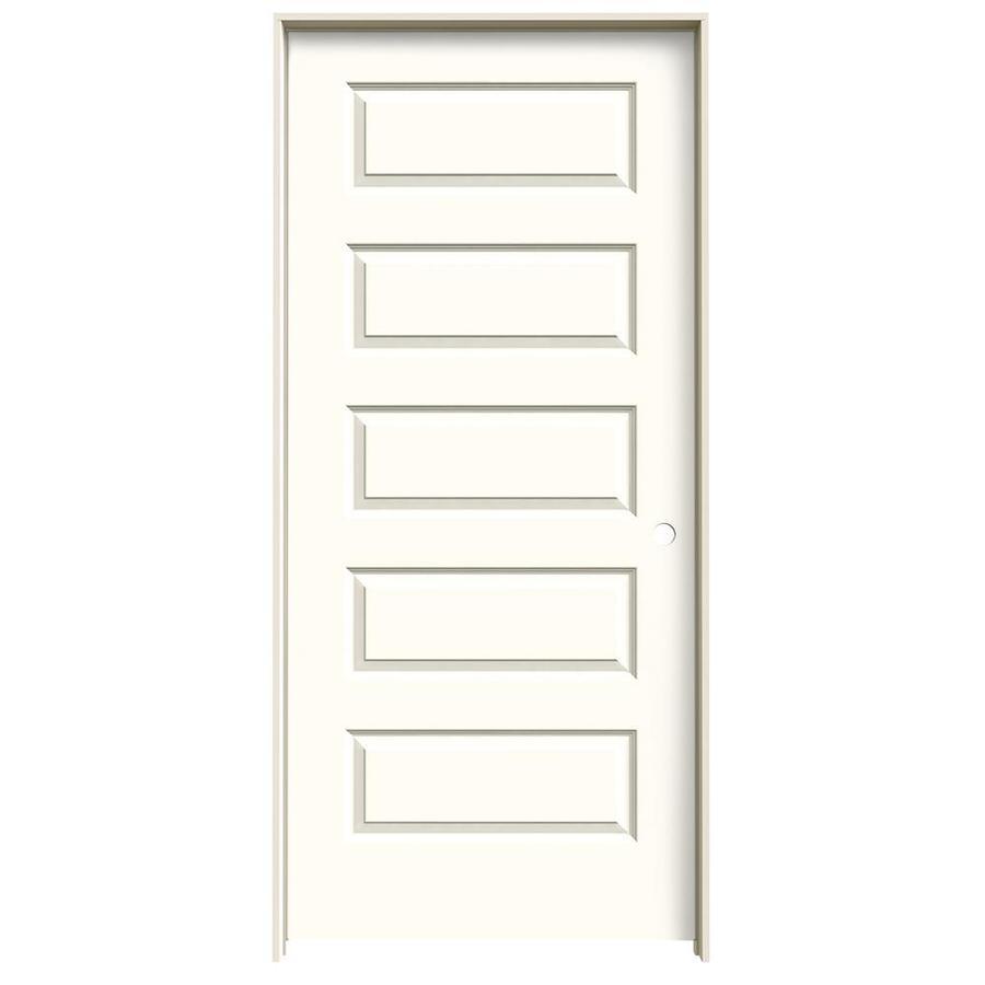 JELD-WEN Moonglow Prehung Solid Core 5-Panel Equal Interior Door (Common: 36-in x 80-in; Actual: 37.562-in x 81.688-in)