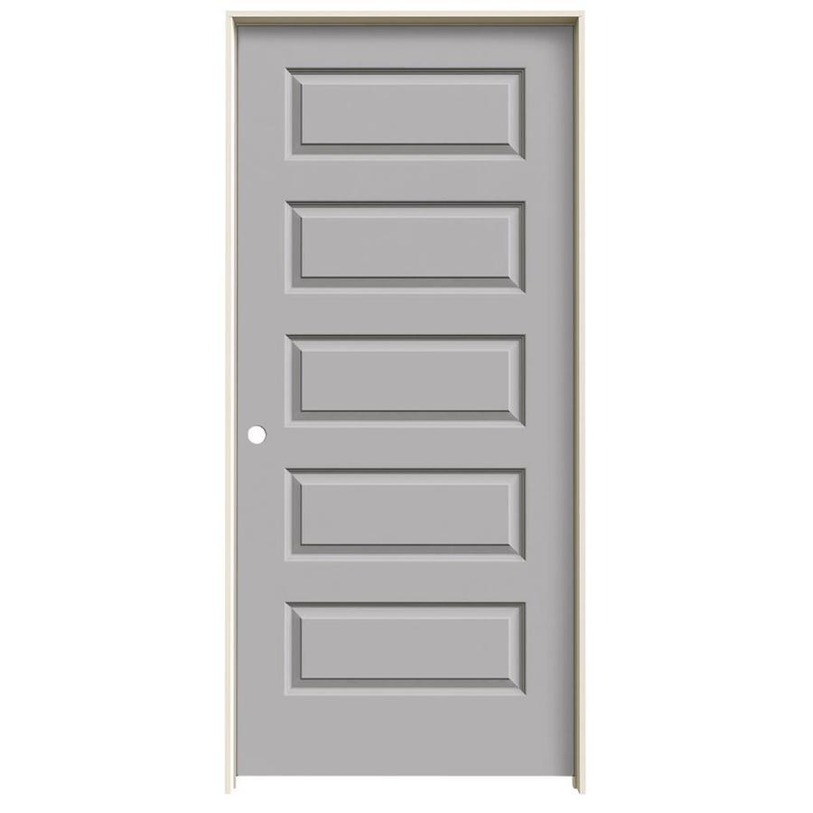 JELD-WEN Driftwood Prehung Solid Core 5-Panel Equal Interior Door (Common: 36-in x 80-in; Actual: 37.562-in x 81.688-in)