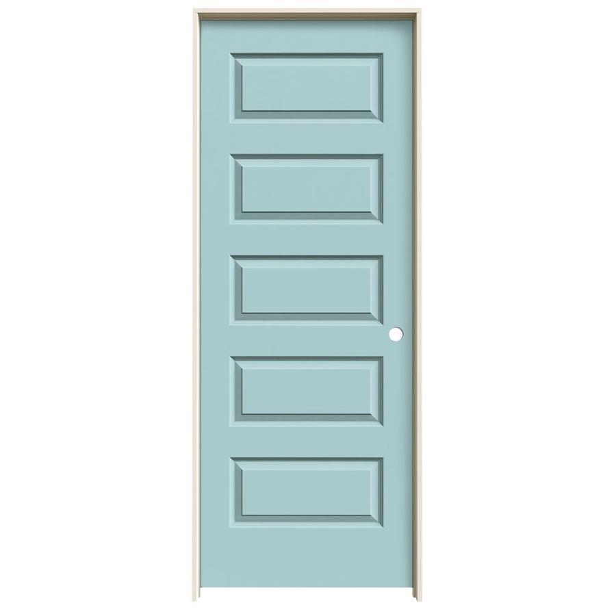 JELD-WEN Sea Mist Prehung Solid Core 5-Panel Equal Interior Door (Common: 28-in x 80-in; Actual: 29.562-in x 81.688-in)